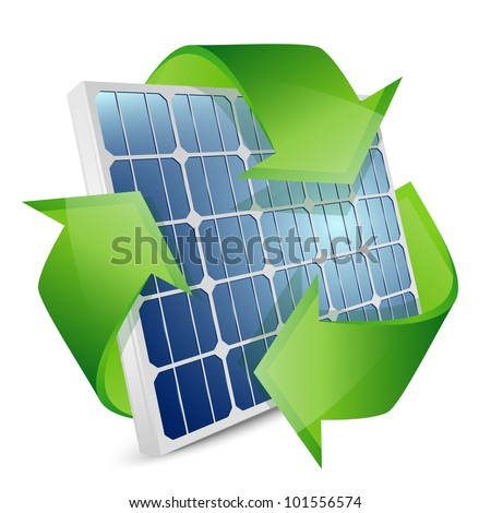 Solar panel with recycle symbol. Vector illustration - stock vector
