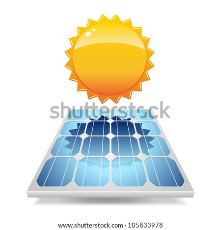 Solar panel with sun. Vector illustration. - stock vector