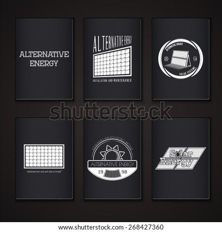 Solar Panels. Alternative Eco Energy. Grunge Effect. Set of Typographic Badges. Flat vector illustration - stock vector