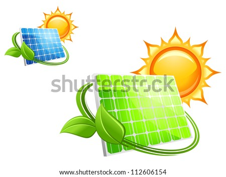 Solar panels and batteries for alternative energy concept, such a logo. Jpeg version also available in gallery - stock vector