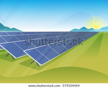 Solar panels farm in green fields during sunrise. Ecology environmental background for presentations, websites, infographics and banners. Modern realistic design - stock vector