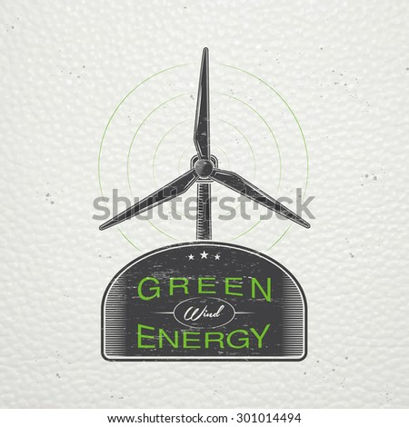 Solar panels for energy. Sustainable ecological solar energy generator powered by natural energy source. Old school of vintage label. Typographic labels, stickers, logos and badges. Flat vector  - stock vector
