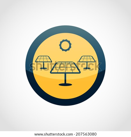 Solar Panels Icon Isolated on White Background - stock vector