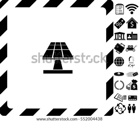 Solar panels icon with bonus symbols on white background.