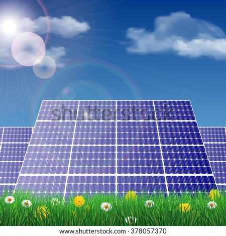 Solar panels in a field, ecology concept vector illustration. - stock vector