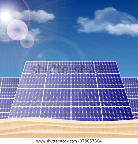 Solar panels in the desert, ecology concept vector illustration. - stock vector