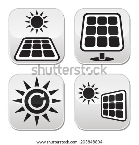 Solar panels, solar energy white buttons set - stock vector