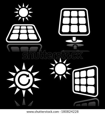 Solar panels, solar energy white icons set on black - stock vector