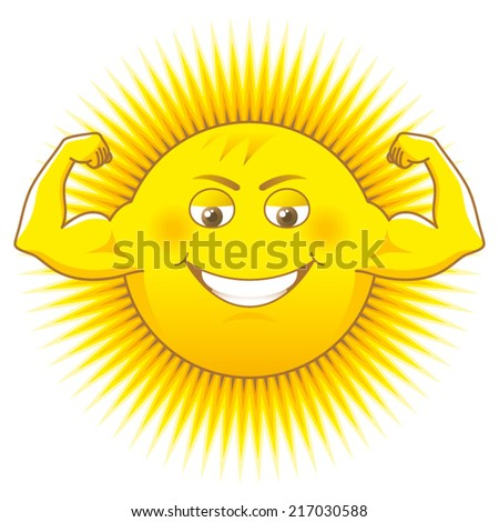 Solar power. Cartooned sun as a source of power. - stock vector