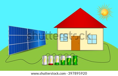 Solar powered house. Clean energy scheme. Vector eps10. - stock vector