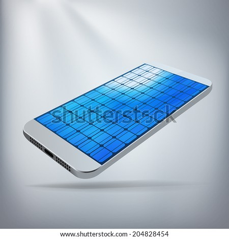 Solar Powered Smartphone Concept. Silver smartphone with screen made of solar panels. Layered file for ease of customization. Fully scalable vector illustration. - stock vector