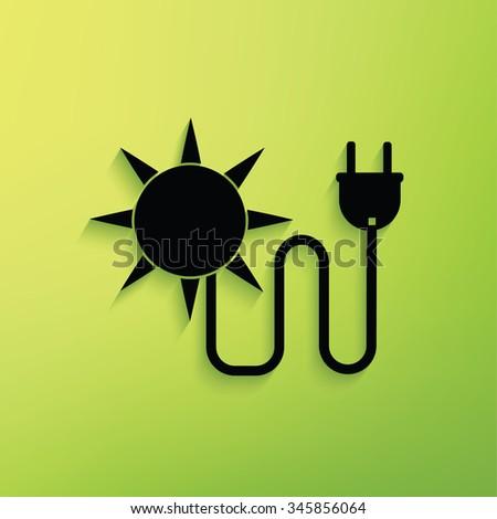 Solar sun,energy on green background,clean vector - stock vector