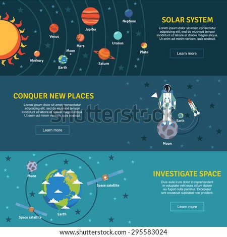 Solar system and space investigation flat horizontal banners set with sun planets  and spacecraft abstract vector illustration - stock vector
