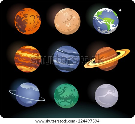 Solar system cartoon planets - stock vector