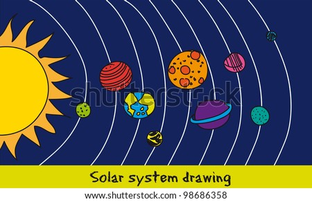 solar system drawing over blue background. vector - stock vector