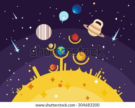 Solar system flat style. Venus mars saturn jupiter uranus neptune mercury moon pluto and earth. Vector illustration - stock vector