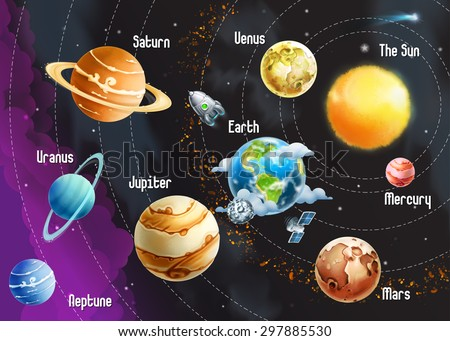 Solar system of planets, vector illustration horizontal - stock vector