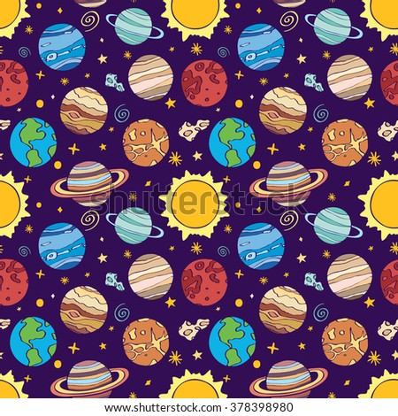 Solar system planets. Seamless pattern with hand-drawn cartoon astro collection - sun, earth, mars, venus, mercury, neptune, uranus. Doodle drawing. Vector illustration - swatch inside - stock vector
