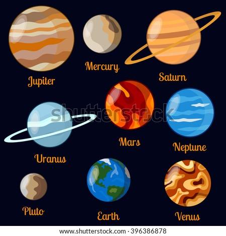 Solar system planets vector set. Nine planets: jupiter, mars, venus, earth, pluto,neptune, mercury, uranus. - stock vector