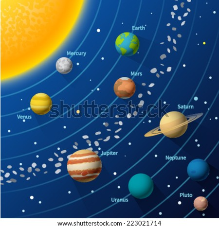 Solar system. Vector design illustration concept. - stock vector