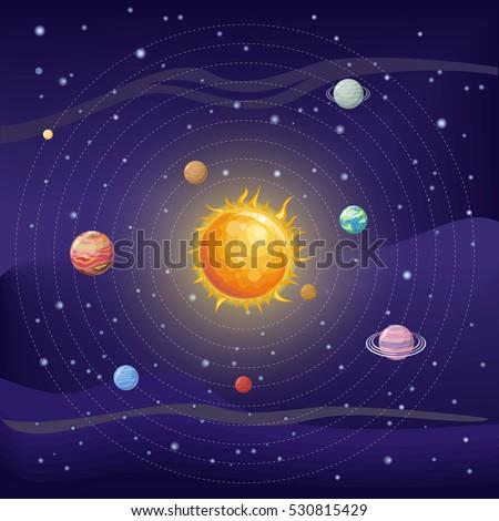 Solar System Stars Sun Pluto Neptune Stock Vector ...