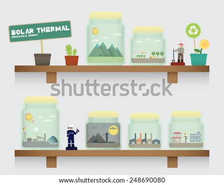 solar thermal in jar - stock vector