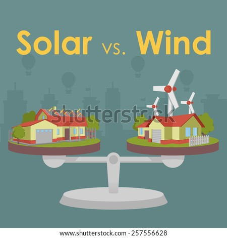 solar versus wind - stock vector