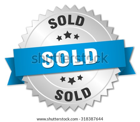 sold 3d silver badge with blue ribbon. sold badge. sold. sold sign