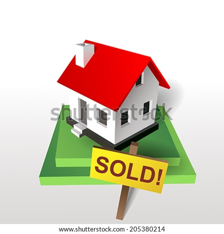 sold house green - stock vector