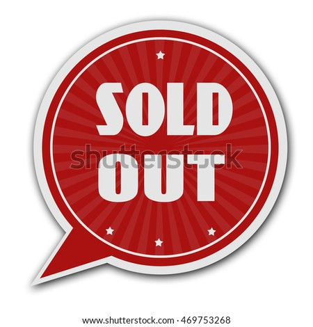 Sold out red speech bubble label or sign on white background