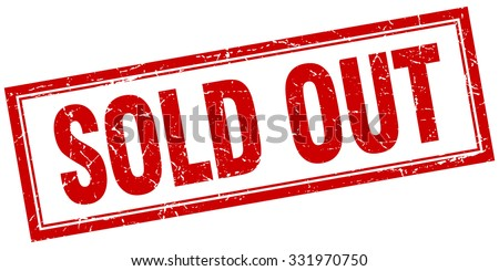 sold out red square grunge stamp on white - stock vector