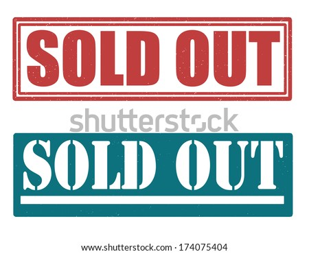 Sold out set of grunge stamps, vector illustration - stock vector