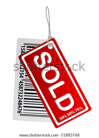 sold tag with bar codes - stock vector