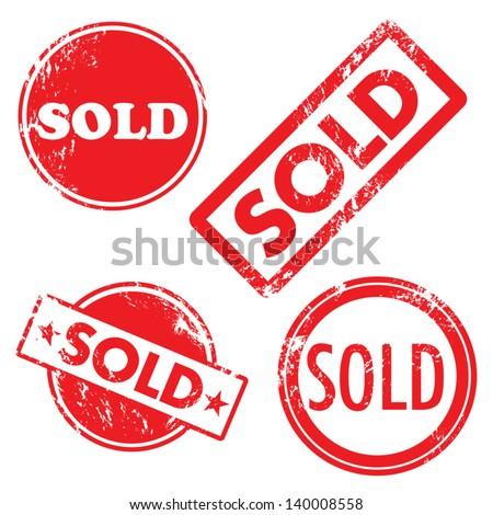 Sold vector stamp  - stock vector
