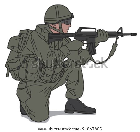 Soldier 4 - stock vector