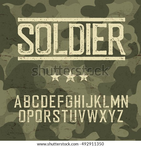 Soldier alphabet. Military design set. Army design elements. Military camouflage seamless pattern. Classic grunge star. Grunge scratches texture background.