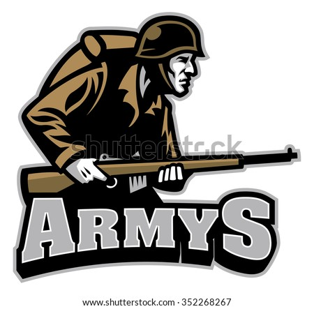 Soldier Carrying the rifle mascot