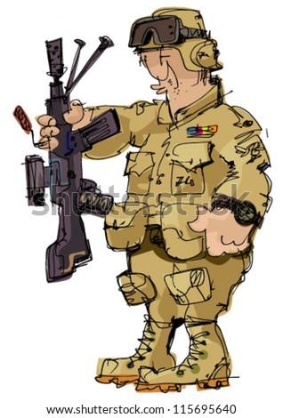 soldier - cartoon - stock vector