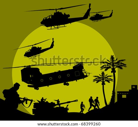 soldier goes on a night reconnaissance in the desert; - stock vector