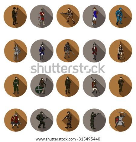 Soldier icons set in flat design with long shadow. Illustration EPS10 - stock vector
