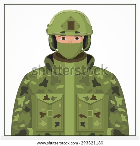 Soldier in camouflage, helmet, headphones and jacket. Vector illustration of military man. War icon. Uniform element.