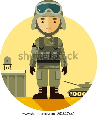Soldier in camouflage uniform on military background in flat style - stock vector
