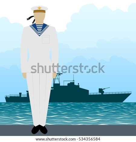 Soldier in uniform of military seaman on a background of military missile boat. The illustration on a white background.