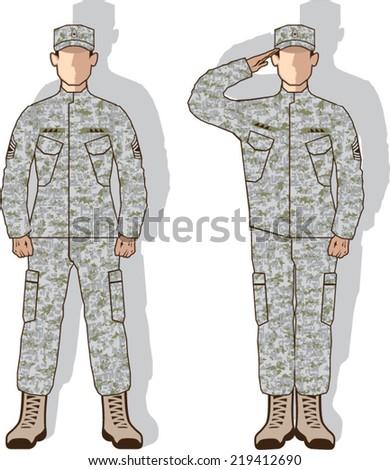 Soldier in uniform salute - stock vector