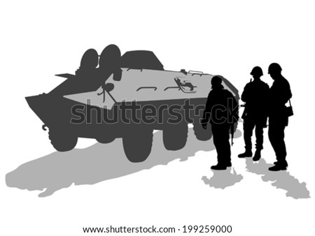 Soldier in uniform with gun on white background - stock vector