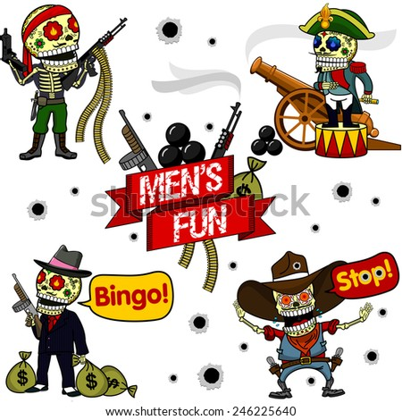 Soldier of Fortune with a bandage on his head and machine guns, Napoleon on the drum with a telescope, next to a smoking gun, gangster with a gun Thompson and bags of money, a cowboy with two guns  - stock vector
