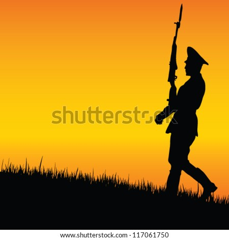soldier on guard in nature vector illustration