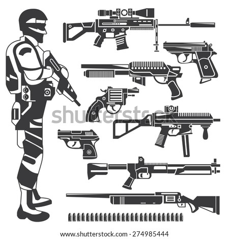 soldier, policeman, gun icons, weapons, vector set - stock vector