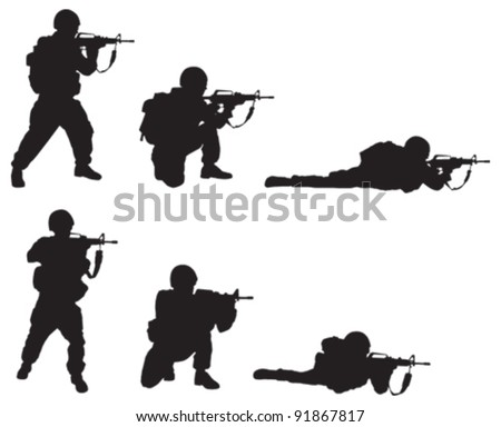 Soldier Silhouette - stock vector