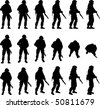 Soldier silhouette in different perspectives, vector - stock photo